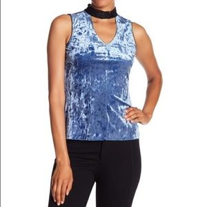 Anthropologie Velvet Tank with Lace Trim